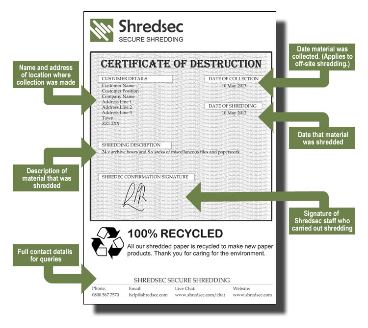 Certificate of destruction for Certificate of data destruction template