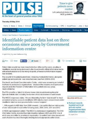 Data Loss by Government Department